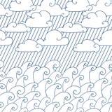 волны картины безшовные Иллюстрация вектора с волнами, облаками и дождем моря бесплатная иллюстрация
