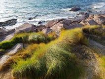 Волны моря разбивая против утесов Стоковое Изображение RF