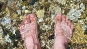 Волны моют мужские босые ноги Человек стоит на pebbled пляже моря на солнечный день Воссоздание и туризм видеоматериал