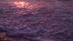 Волны, пена, прибой, на влажном песке, темное море, против фона оранжевого захода солнца акции видеоматериалы