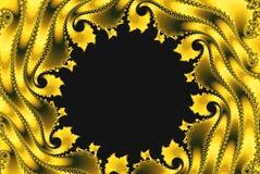 Волны роскошной фрактали золотые с космосом экземпляра иллюстрация вектора