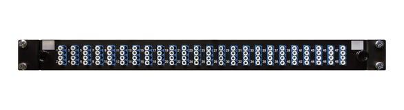 Волокно - оптический пульт временных соединительных кабелей сети с 48 высокими плотностями LC Connecto стоковые изображения rf