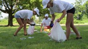 Волонтеры очищая отброс в парке Люди комплектуя вверх пластмассу бутылки на траве акции видеоматериалы