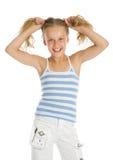 волосы девушки вручают ее детенышей владением стоковое изображение rf