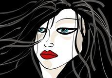 волосы девушки длинние Иллюстрация вектора