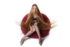 волосы девушки длинние Стоковая Фотография