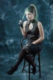 волосы девушки ее введенное в моду steampunk игр Стоковое Фото