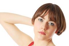 волосы девушки ее детеныши удерживания Стоковая Фотография