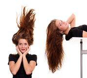 волосы девушки красотки стоковое изображение