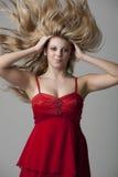 волосы девушки летания предпосылки серые подростковые Стоковое Фото
