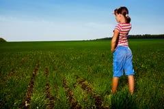 волосы девушки поля длиной Стоковая Фотография RF