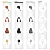 Волосы, длинный, chignon, и другой значок сети в стиле шаржа Парикмахерская, coiffure, замки, значки в собрании комплекта Стоковые Изображения