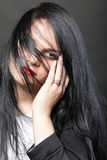 Волосы красивой женщины брюнет длинные стоковые фотографии rf