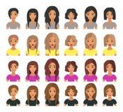 Волосы красивой моды портрета молодой женщины современной короткие и длинные волосы брюнета, белокурых, русых и каштана волос век иллюстрация вектора