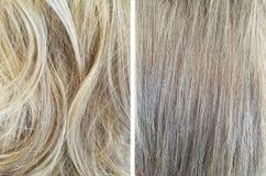 волосы перед и после выравнивать подготовлять стоковые фото
