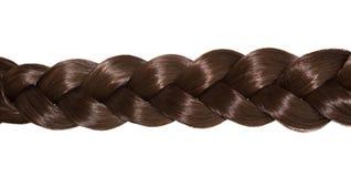 Волосы ` s женщин изолированные на белой предпосылке Коричневая оплетка волос стоковое фото rf