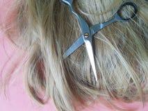 Волосы scissors коричневый цвет предпосылки, парик концепции, парикмахерские услуги Стоковые Изображения RF