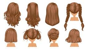 волос девушки предпосылки пинк красивейших коричневых курчавых здоровый изолированный иллюстрация вектора