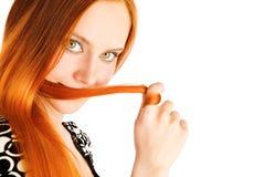 волос красный цвет длиной Стоковое Изображение RF