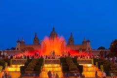 Волшебная выставка света фонтана, Барселона Стоковое фото RF