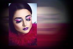 Волшебная женщина с розовым мехом Стоковая Фотография RF