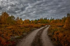 Волшебная ледовитая осень на значительно русском севере стоковые изображения