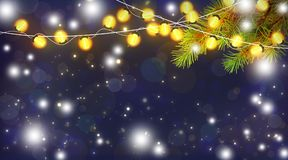 Волшебная ноча рождества Праздничные света и ветви Chr стоковое изображение rf