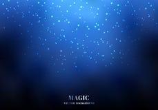 Волшебная предпосылка голубого неба ночи со сверкная ярким блеском иллюстрация штока