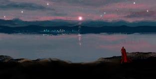 Волшебник в красном пальто смотря к городу ночи в свете луны, digita стоковая фотография