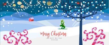Волшебное знамя праздников ландшафта зимы бесплатная иллюстрация