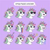 Волшебное emoji единорога, установленные значки улыбки единорога Стоковые Изображения RF