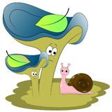 Волшебные улитка и грибы бесплатная иллюстрация