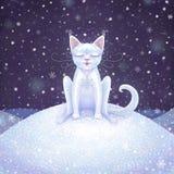 Волшебный белый кот зимы Иллюстрация цифров Стоковое Фото