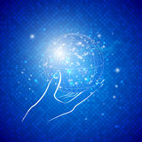 Волшебный глобус в руке Стоковые Фото