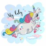 волшебный единорог младенец мой Fairy пони Грива радуги Шарж-стиль вектор иллюстрация вектора
