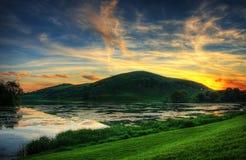 волшебный заход солнца Стоковое Изображение