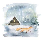 Волшебный ландшафт зимы с лисой стоковое изображение