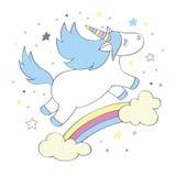 Волшебный милый единорог в стиле шаржа Doodle единорог для карточек, плакатов, печатей футболки, Стоковые Изображения RF