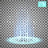 Волшебный портал фантазии Футуристический teleport Световой эффект Голубые свечи лучей сцены ночи с искрами на прозрачном иллюстрация штока