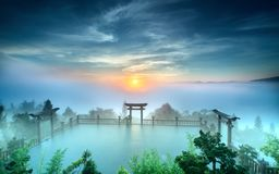 Волшебный рассвет на пагоде Стоковое Фото