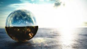 Волшебный шарик зеркала с внутренностью леса иллюстрация вектора