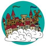 Волшебный fairy город в иллюстрации вектора облаков Стоковое Изображение
