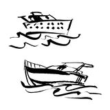 волшебства иллюстрации цвета шарика вектор кристаллического установленный Написанная яхта, powerboat нарисованные рукой и рука по иллюстрация вектора