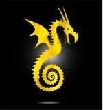 волшебство дракона Азии изолированное золотом Стоковое Изображение