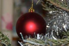 Волшебство рождества с красивыми украшениями - Вид спереди шарика красно- Стоковая Фотография RF