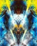 Воображаемая абстрактная предпосылка с неоновыми живыми цветами и зеркалом и влиянием фрактали Стоковые Изображения