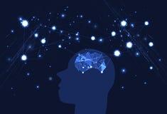 Воодушевленность нервных клеток шторма электрического мозга творческая, thi мозга иллюстрация штока