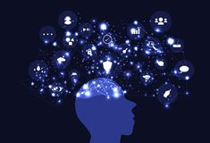 Воодушевленность отображения разума идеи творческая, сеть t мозга думая иллюстрация вектора