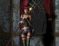 вооруженная волшебная женщина палочки Стоковая Фотография