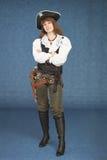 вооруженная голубая женщина пистолета пирата Стоковое Фото